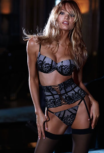 Scandalous Balconet Push-Up Bra + V-string Panty + Waist Cincher (сирень/черный). Комплект с поясом